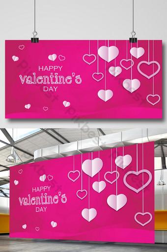 día de san valentín creativo con corazones de amor 14 de febrero banner rosa Modelo AI