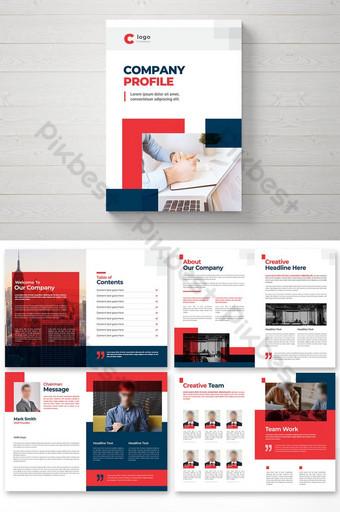 brosur profil perusahaan dengan tata letak multihalaman minimal Templat EPS