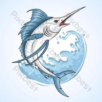 vector de ilustraciones de pez espada marlin Elementos graficos Modelo EPS