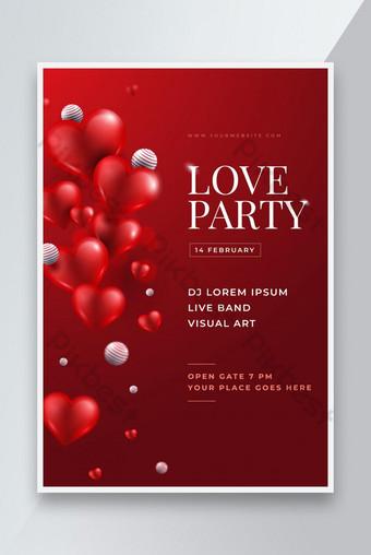 diseño de plantilla de cartel de fiesta de amor de día de san valentín realista Modelo AI