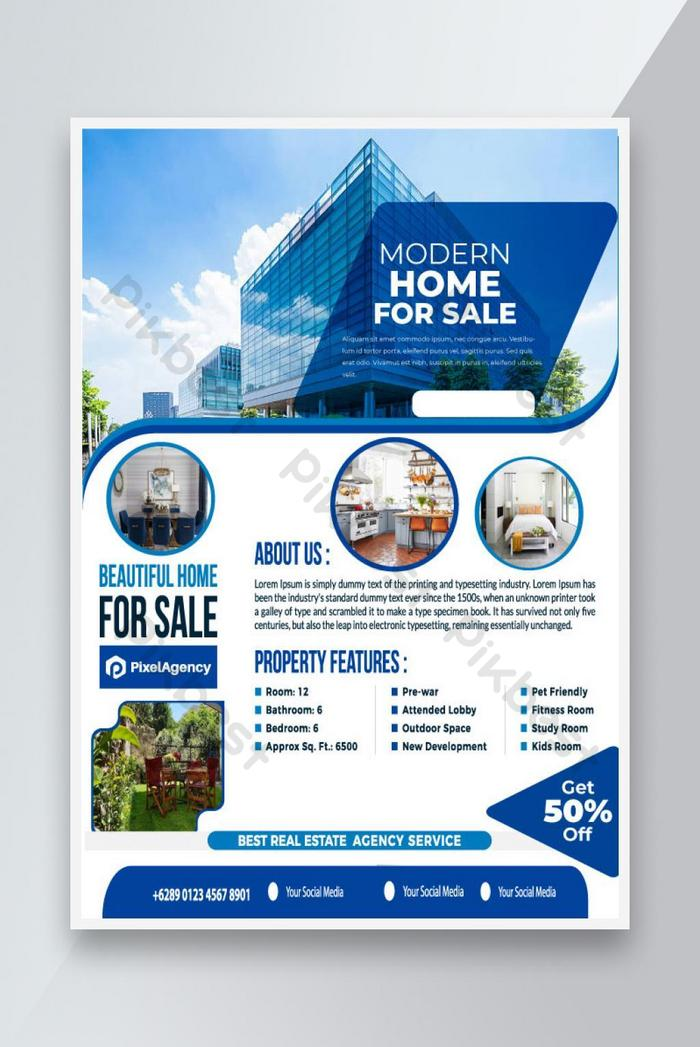 bagong modernong bahay para sa ipinagbibiling template ng flyer