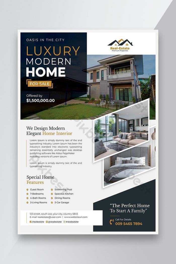 luho modernong bahay para sa pagbebenta ng flyer ng real estate