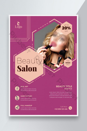 Diseño de plantilla de vector colorido folleto de salón de belleza spa Modelo AI