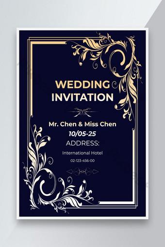 Golden ampli gradient bleue Invitation Flyer Design Modèle PSD