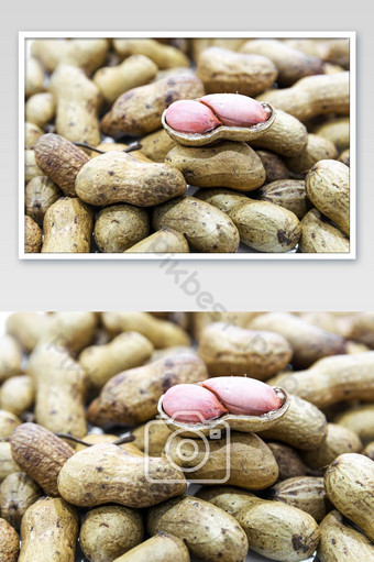 Boiled Peanuts the oval seed of a South American plant. Photo Template JPG