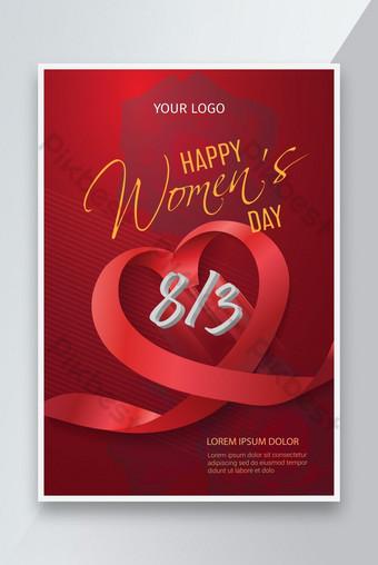 feliz día de la mujer con cintas de corazón día internacional de la mujer 8 de marzo vacaciones baner Modelo AI