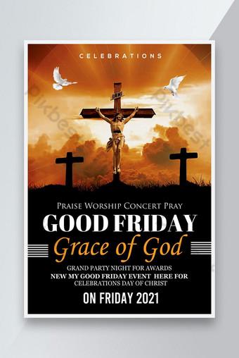 affiche de l église du bon vendredi Modèle PSD