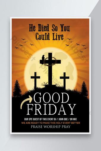 diseños de carteles de viernes santo Modelo PSD