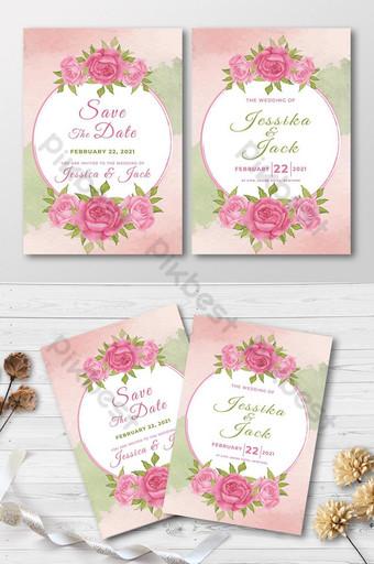 carte d'invitation de mariage aquarelle floral rose Modèle EPS