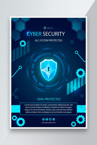 Cyber security vertical flyer template Template AI