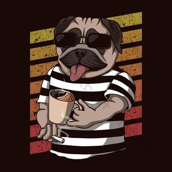 perro pug bebiendo coffeeeeee retro ilustración vectorial Elementos graficos Modelo EPS