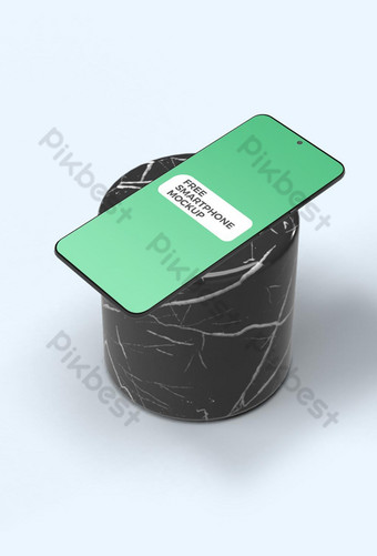 smartphone en maqueta de cilindro de mármol Modelo PSD