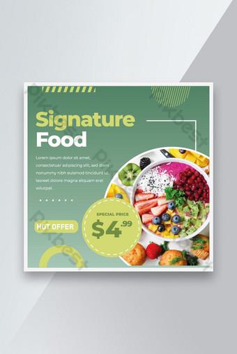 Plantilla creativa de comida saludable para banner de publicación de comida en redes sociales y diseño publicitario Modelo EPS