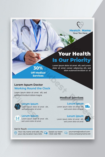 Text Editable Health or Medical Service Flyer Vector Template, USE Your Photo Template EPS