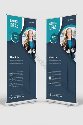 diseño de plantilla de banner de soporte de señalización de banner acumulativo de negocios corporativos Modelo AI