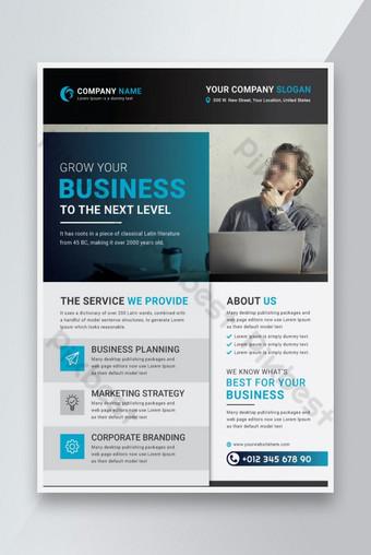 conception de modèle de flyer entreprise bleu avec idée créative Modèle EPS