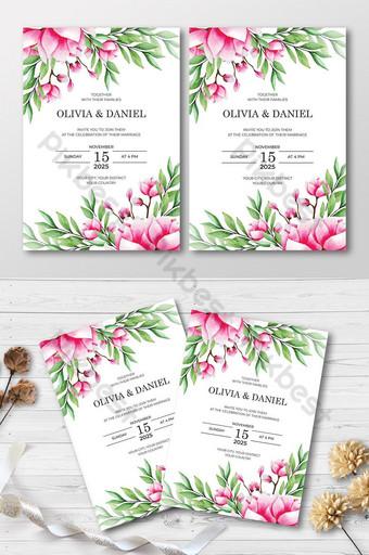 élégante belle carte d'invitation de mariage aquarelle Modèle AI