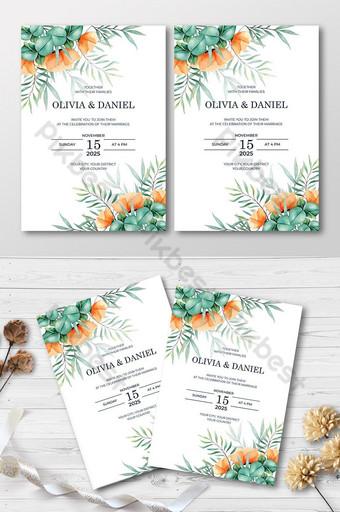 dessin belle carte d'invitation de mariage floral Modèle AI