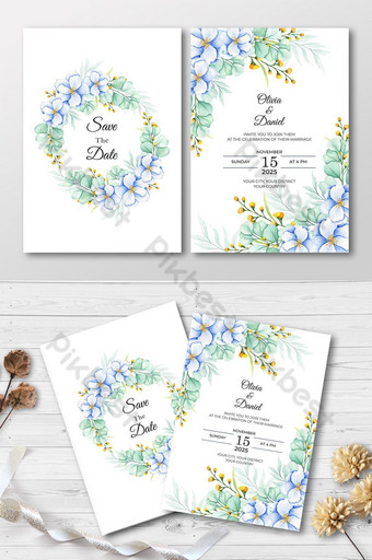 carte d'invitation florale aquarelle élégante et propre Modèle AI