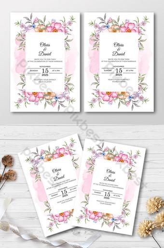 beau modèle de carte d'invitation de mariage floral aquarelle Modèle AI