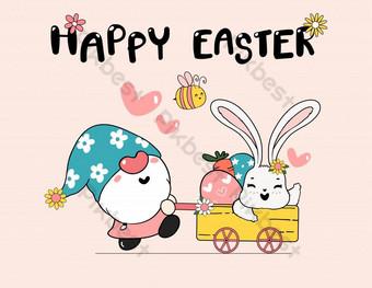 لطيف الربيع الأرنب على زهرة عيد الفصح البيض سعيد الربيع عيد الفصح لطيف الكرتون رسم رسم صور PNG قالب EPS