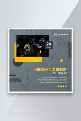 Mechanic Shop Service Post Design Template AI