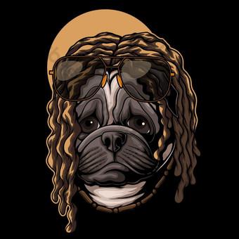 Pug Dog Dreadlocks pelo ilustración vectorial Elementos graficos Modelo EPS