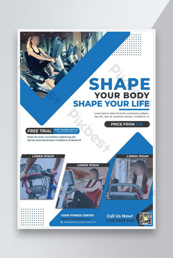 Modèle de dépliant promotionnel de fitness de gymnastique Modèle PSD