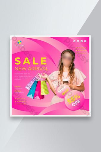 Penjualan baru kedatangan media sosial pasca desain template banner Templat AI