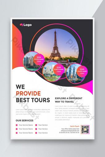Conception de dépliant de voyage et de tourisme avec des points de repère du monde célèbre Modèle EPS