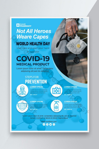 Creative Medical Fight Covid Poster Design na plakat szpitalny Szablon AI