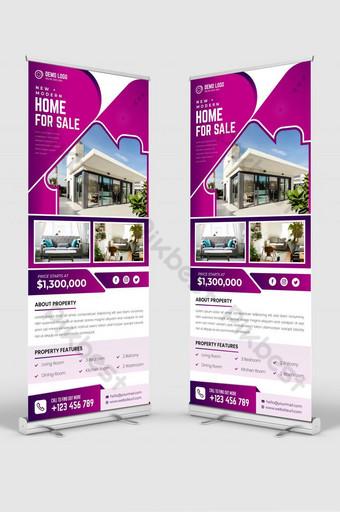 Real Estate Inicio Venta enrollar plantilla de banner o DL Flyer Modelo EPS