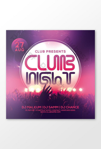 Club Night Brochure Cover Instagram Post Social Media Post Templat PSD