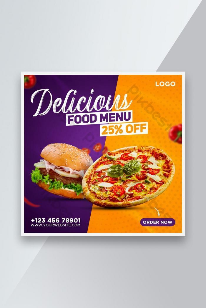 restaurant food menu banner template design for social media post , instagram post