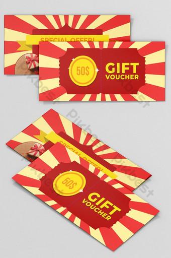 Conception de carte de billet de coupon de coupon cadeau Modèle AI