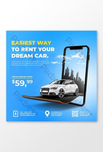 Car rent promotion social media instagram post banner template Premium Psd Template PSD