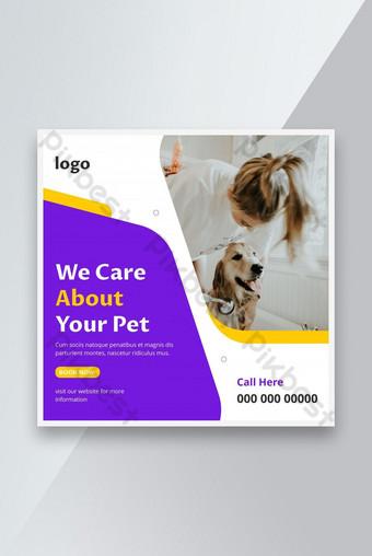 Pet care social media banner or web banner template. Pet care service promotional banner Template AI