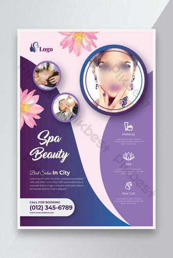 Belleza Spa Salon Flyer o colorido Cabello Creativo Salón Piel Cuidado de la piel Diseño de plantilla de folleto Modelo AI