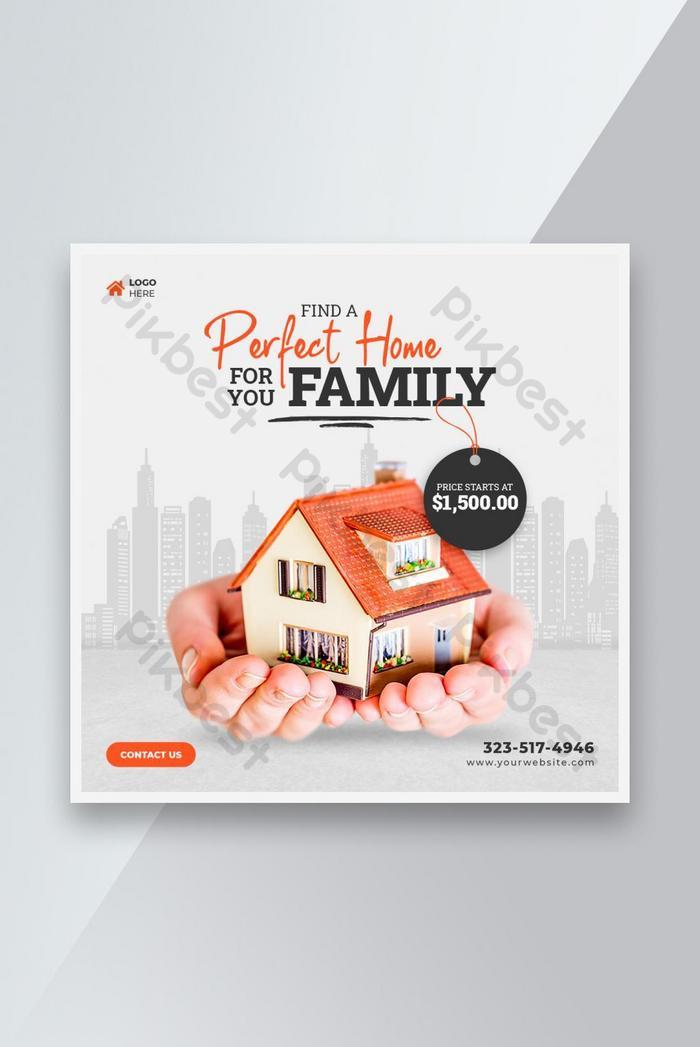 real estate home sale social media banner or post design template