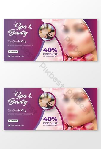 Belleza Spa Salon Facebook Encabezado Banner Plantilla Modelo AI