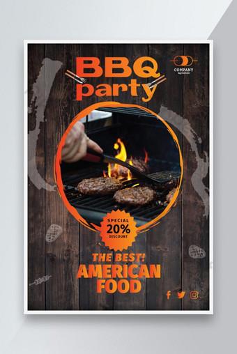 獨特的燒烤餐飲食品系列海報和傳單設計 模板 AI
