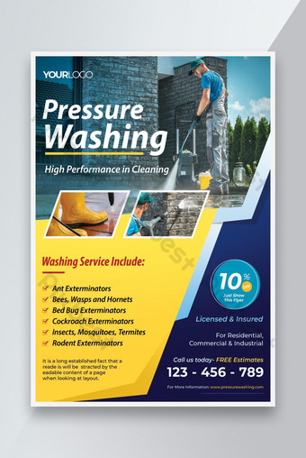 Pressure Washing Service Flyer Template PSD