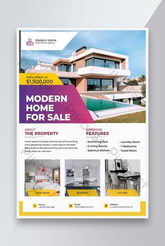 Nouvelle maison moderne à vendre modèle Flyer Modèle PSD