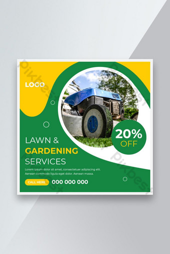 Lawn Mower Gardening Service Social Media Post And Web Banner Template For Your Business Template AI