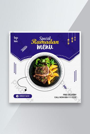 Ramadan Kareem Makanan Diskon Promosi Instagram Facebook Social Media Post Template Templat AI