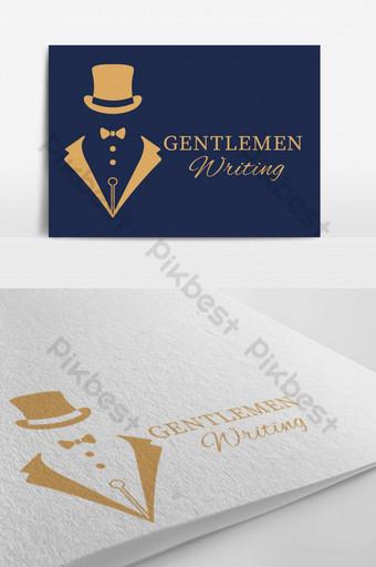 Gentlemen escribiendo vector plantilla de diseño de logotipo EPS Modelo EPS