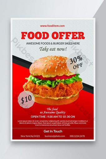 Modèle de conception de flyer d'offre alimentaire Modèle PSD