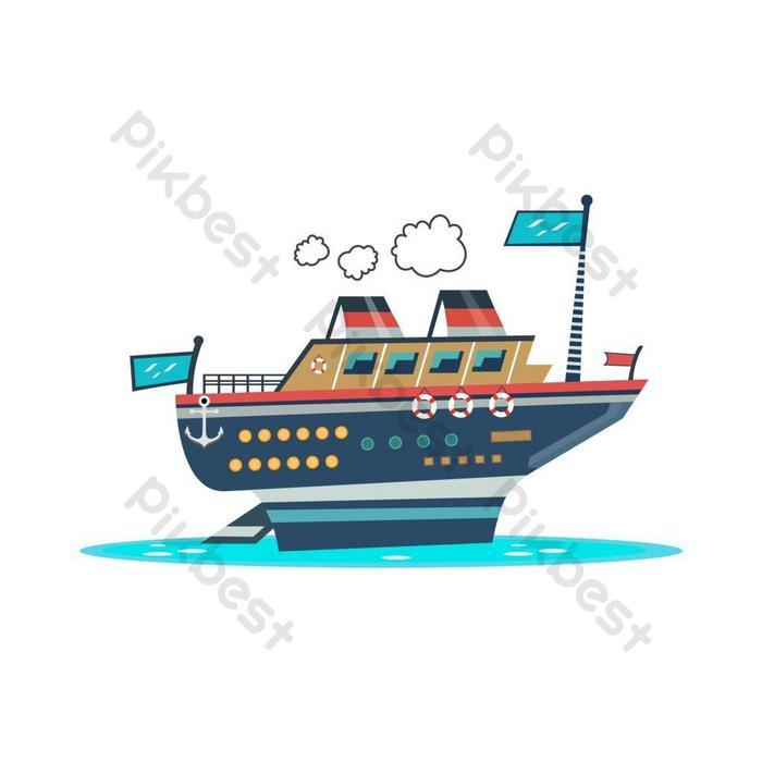 Ilustrasi Kapal Kartun Kartun Indah Merah Elemen Grafis Templat Ai Unduhan Gratis Pikbest