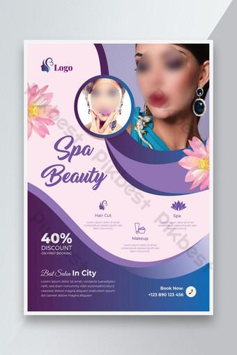 Beauty Spa Salon Flyer ou Salon Coiffeur Salon Soins de la peau Modèle de flyer Design Rouge Modèle AI