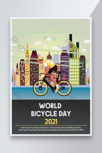 世界自行車日模板紅色 模板 PSD